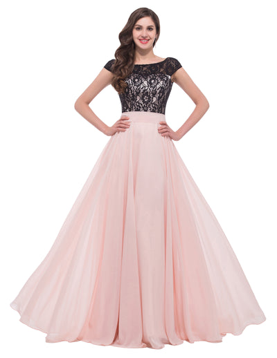 Pink Backless  Cap Sleeve Lace Chiffon Ball Gown Evening Dress