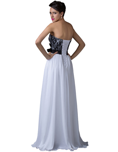 White Lace Strapless Princess Chiffon Maxi Floor-Length Evening Dress