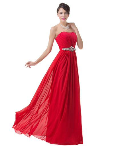 Grace Karin Beading Belt Ruffles Bridesmaid Evening Party Celebrity Dress_Red