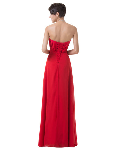 Red Strapless Ruched Bodice Ruffles Bridesmaid Evening Dress