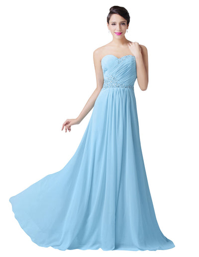 Light Blue Sleeveless Full-Length Bridesmaid Evening Prom Dress
