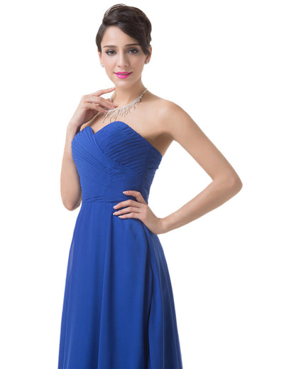 Blue Strapless Sweetheart Full-Length Chiffon Evening Prom Dress