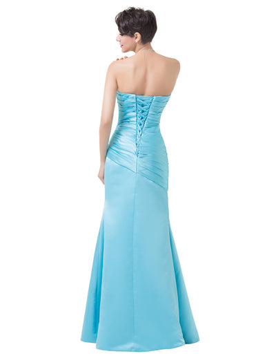 Sky Blue Full Length Ruched Bodice Strapless Pleated Satin Evening Dress