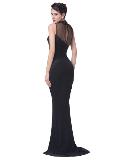 Black Sleeveless Splicing Floor-Length Mermaid Evening Dress