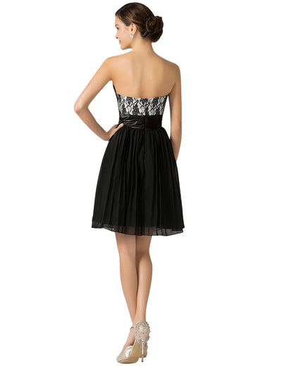 Short Strapless Black Lace Free Patterns Pleated A-line Evening Dress