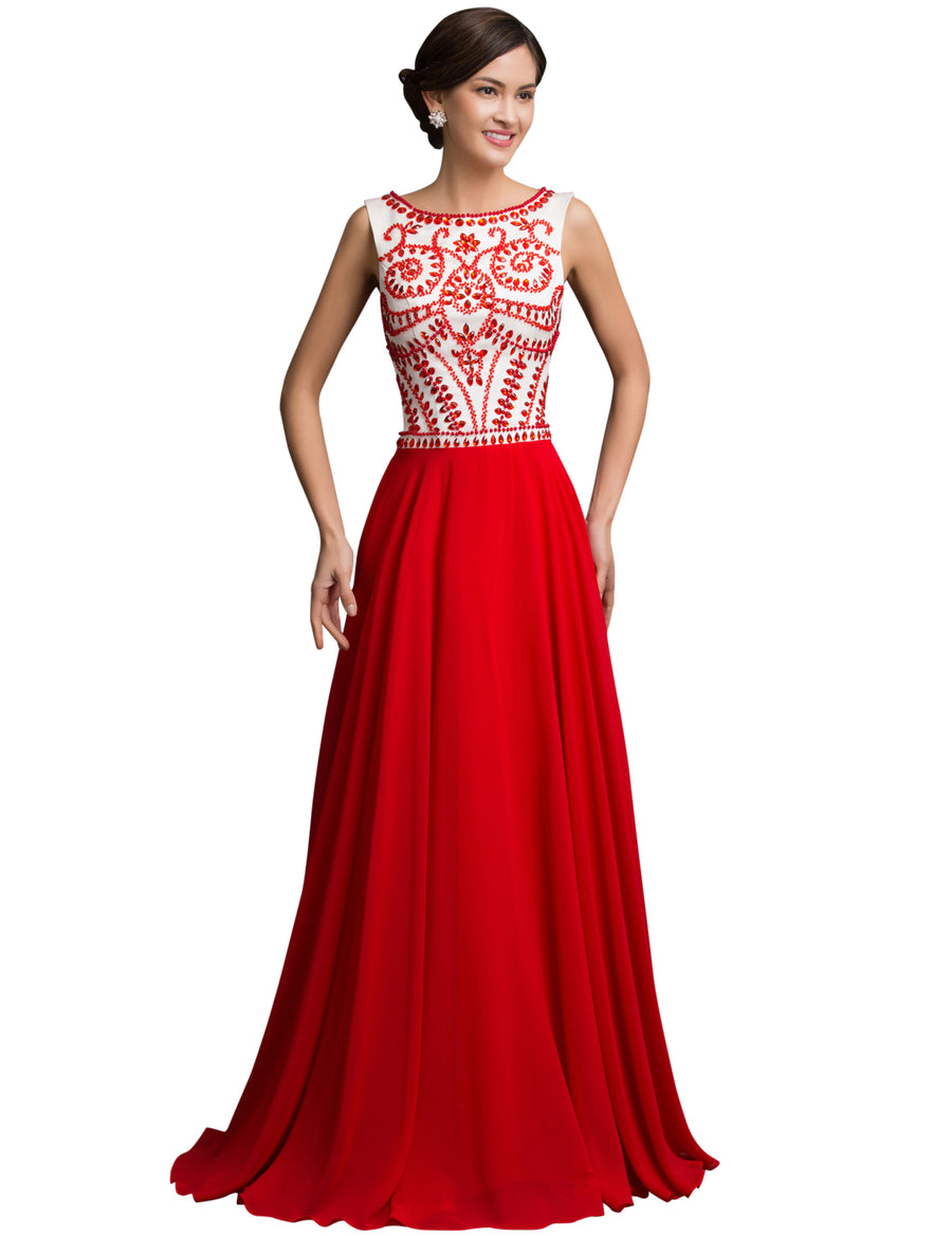 Grace Karin Beading Sleeveless Red Full-Length Wedding Party Bridesmaid Evening Gown