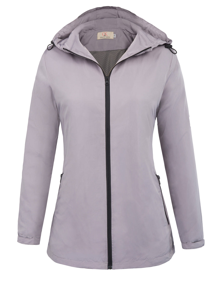 Grace Karin Women's Comfortable Lightweight Windproof Hooded Coat_Navy Blue