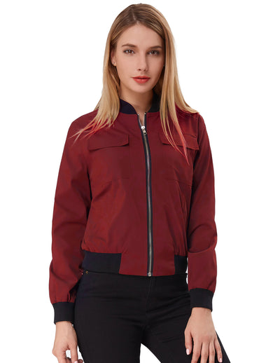Women's Multi-Pocket Zip Front Stand Collar Jacket Coat Tops
