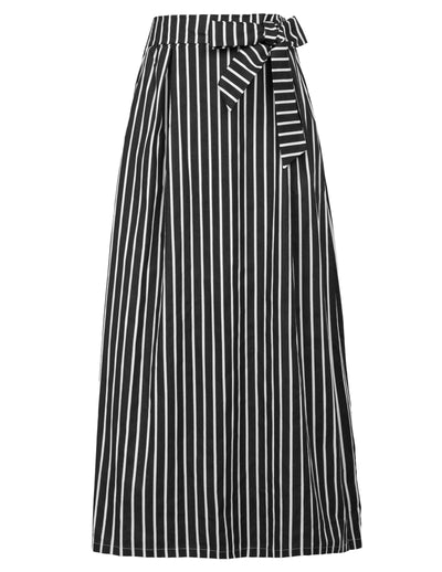 GRACE KARIN Women's Striped Full Length Elastic Waist Long Cotton Skirt With Pocket-Black