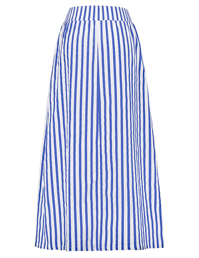 GRACE KARIN Women's Striped Full Length Elastic Waist Long Cotton Skirt With Pocket-Sky Blue