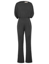 Grace Karin Sexy Women's Short Sleeve Straight Neck Jumpsuit Jumper Romper_Black