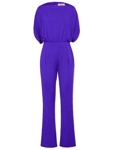 Grace Karin Sexy Women's Short Sleeve Straight Neck Jumpsuit Jumper Romper_Blue