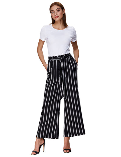 Grace Karin Women's Casual Striped High Waisted Wide Leg Long Pants_Black