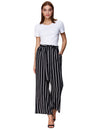 Grace Karin Women's Casual Striped High Waisted Wide Leg Long Pants_ Stripe Black