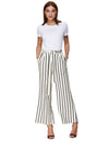 Grace Karin Women's Casual Striped High Waisted Wide Leg Long Pants_Stripe Ivory