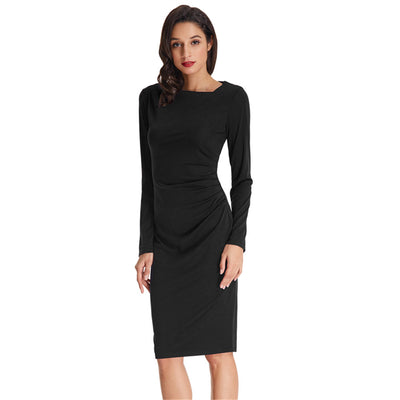 Grace Karin Long Sleeve Asymmetric Neck Pleated Hips-Wrapped Pencil Dress_Black