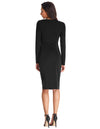 Long Sleeve Asymmetric Neck Pleated Hips-Wrapped Pencil Dress
