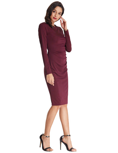 Grace Karin Long Sleeve Asymmetric Neck Pleated Hips-Wrapped Pencil Dress_Wine Red