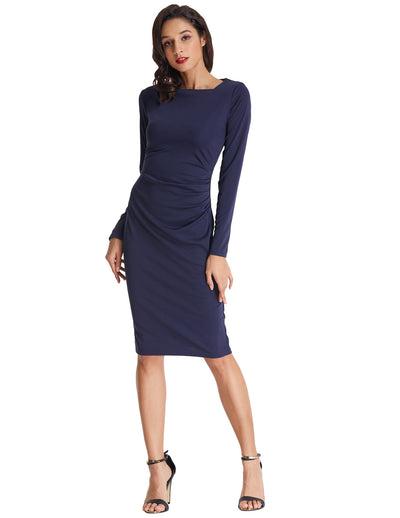 Grace Karin Long Sleeve Asymmetric Neck Pleated Hips-Wrapped Pencil Dress_Navy Blue