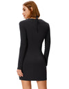 Comfortable Long Sleeve Halter Faux Twinset Modal Dress
