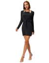 Grace Karin Women's Sexy Comfortable Long Sleeve Halter Faux Twinset Hips-Wrapped Modal Dress _Black