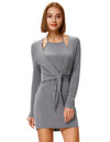 Grace Karin Women's Sexy Comfortable Long Sleeve Halter Faux Twinset Hips-Wrapped Modal Dress _Grey