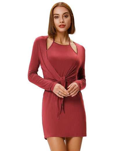Grace Karin Women's Sexy Comfortable Long Sleeve Halter Faux Twinset Hips-Wrapped Modal Dress _Wine Red