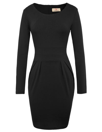GRACE KARIN Women's Long Sleeve Crew Neck Hips-Wrapped Body-con Pencil Dress-Black