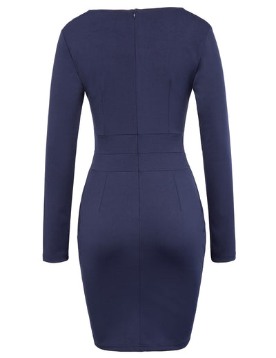GRACE KARIN Women's Long Sleeve Crew Neck Hips-Wrapped Body-con Pencil Dress-Navy Blue