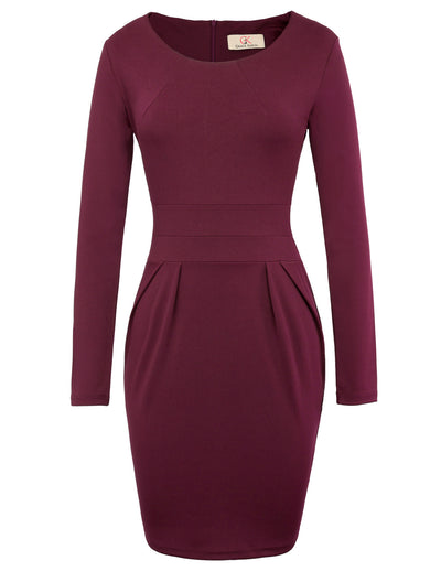 GRACE KARIN Women's Long Sleeve Crew Neck Hips-Wrapped Body-con Pencil Dress-Wine Red