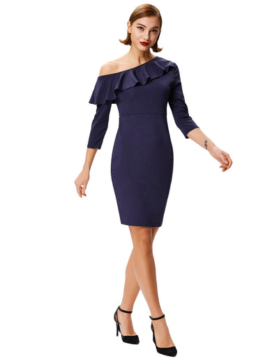 3/4 Sleeve Asymmetrical One-Shoulder High Stretchy Pencil Dress