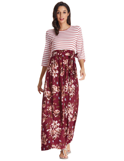 Grace Karin 3 / 4 Ärmelstreifen Blumenmuster A-Line Sommer Maxi Dress_Wine Red