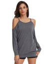 Grace Karin Women's Casual Long Sleeve Cut-out Shoulders T-Shirt Tops_Dark Grey