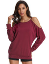 Grace Karin Women's Casual Long Sleeve Cut-out Shoulders T-Shirt Tops_Wine Red