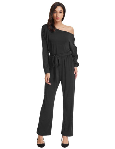 Grace Karin Women's Asymmetrical Long Sleeve Off the Shoulder High Stretchy Jumpsuits Romper Jumper _Black