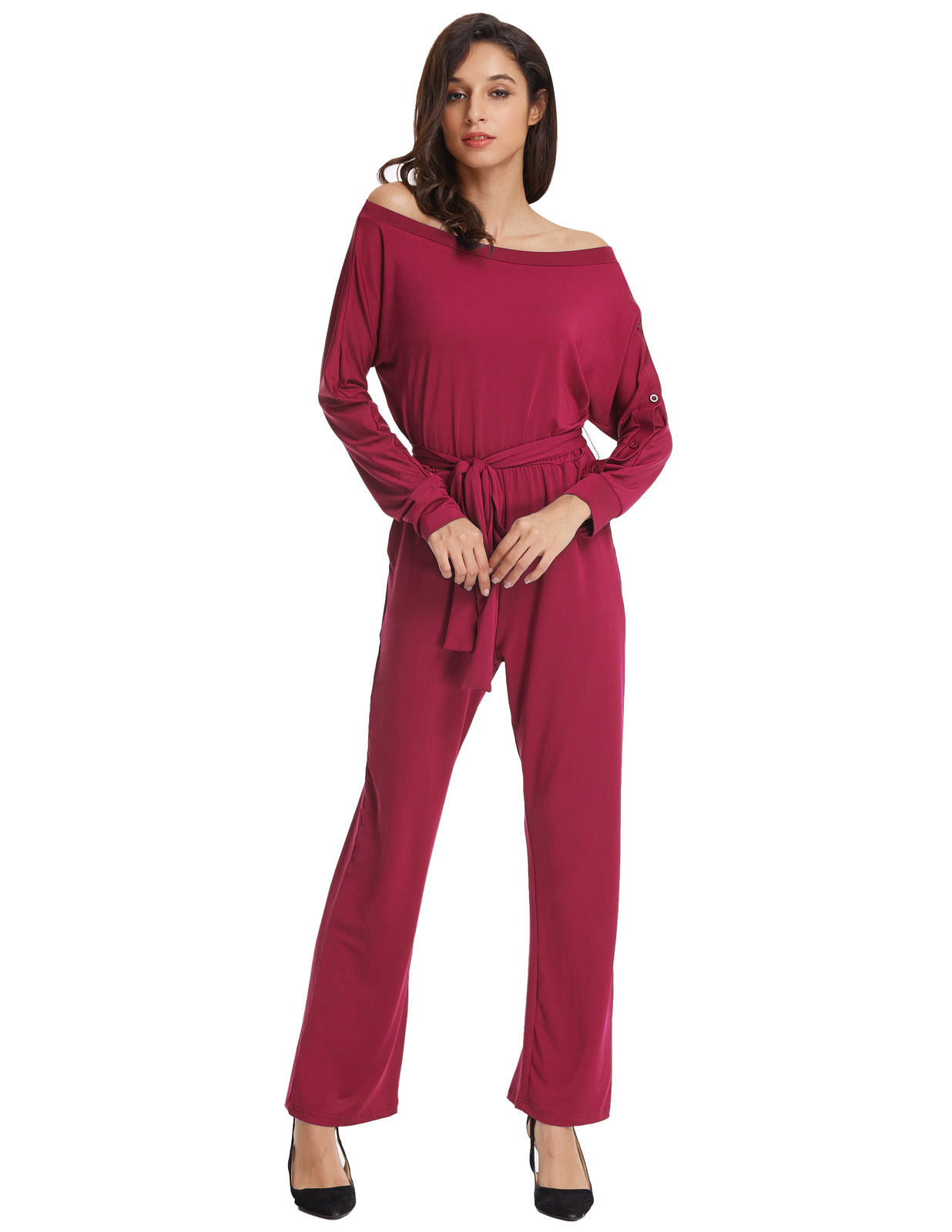 e53a71143b7 Grace Karin Women s Asymmetrical Long Sleeve Off the Shoulder High Stretchy  Jumpsuits Romper Jumper  Wine Red