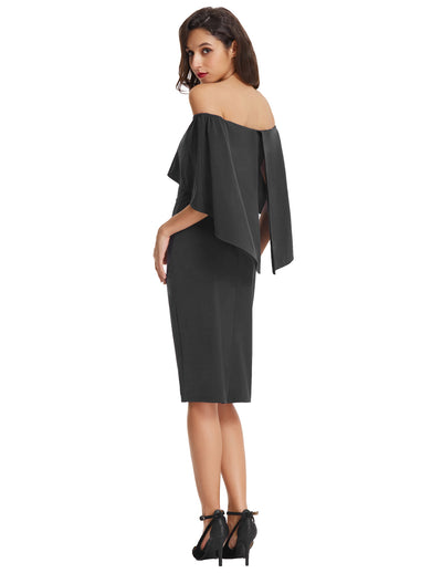Grace Karin Sexy Sleeveless Off the Shoulder Drape Decorated Pencil Dress