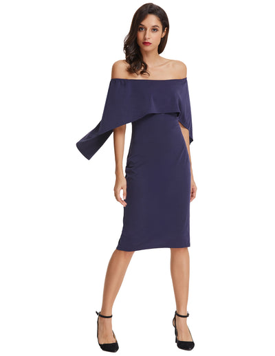 Grace Karin Sexy Sleeveless Off the Shoulder Drape Decorated Pencil Dress_Navy Blue