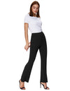 Grace Karin Women's Solid Color Bell Leg Bottom Cotton Hippie Pants_Black