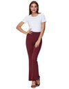 Grace Karin Women's Solid Color Bell Leg Bottom Cotton Hippie Pants_Wine Red
