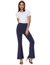 Grace Karin Women's Solid Color Bell Leg Bottom Cotton Hippie Pants_Navy Blue