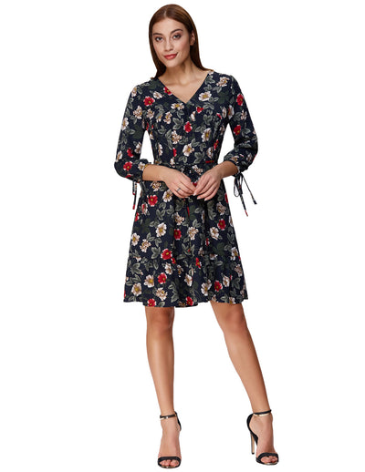 3/4 Sleeve V-Neck Floral Pattern A-Line Ruffled Casual Dress