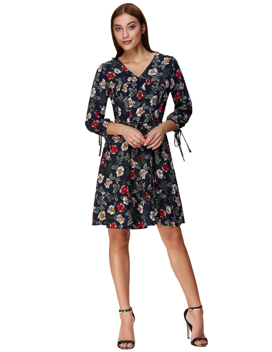 Grace Karin Women's Loose Fit Vibrant Floral Pattern Three Quarter Sleeve V-Neck A-Line Ruffled Casual Dress _Red