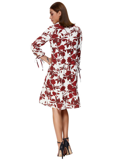 3 / 4 Sleeve V-Neck Floral Pattern A-Line Ruffled Casual Dress