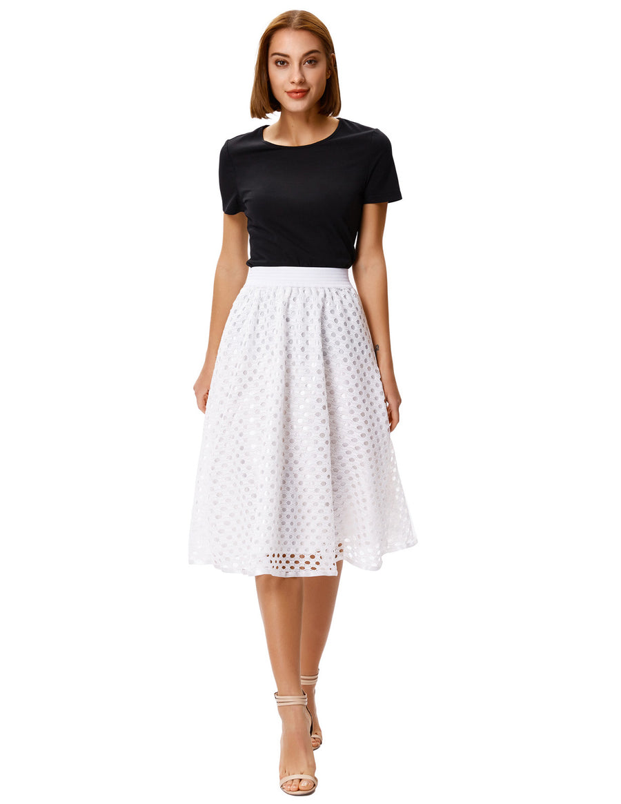 Grace Karin Women's Ivory High Waisted Elastic Waist Punched Crochet Flared A-Line Skirt