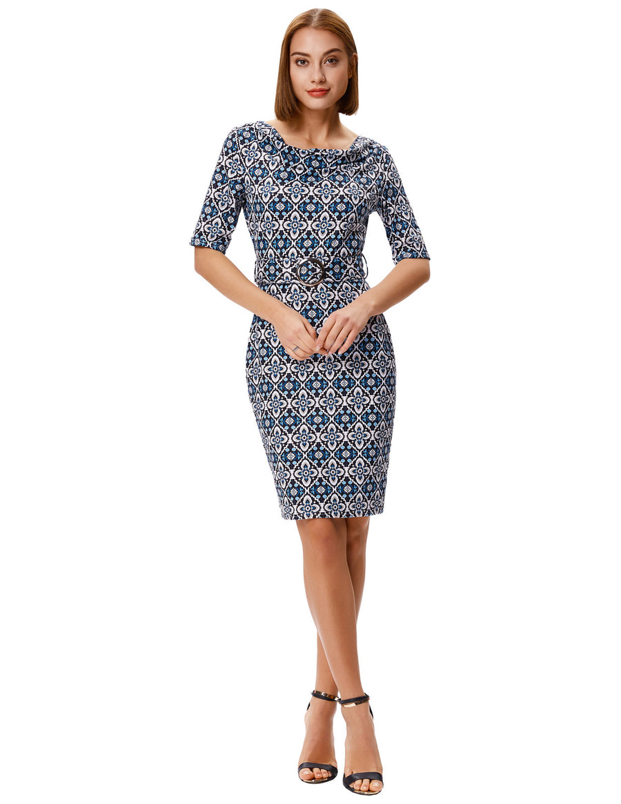 Grace Karin 1/2 Sleeve Floral Pattern Hips-wrapped Bodycon Pencil Dress with Belt-Navy Blue