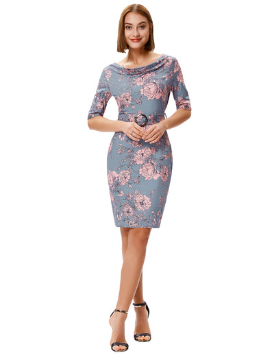 Grace Karin 1/2 Sleeve Floral Pattern Hips-wrapped Bodycon Pencil Dress with Belt_Pink