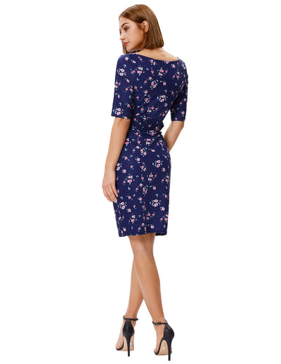 1/2 Sleeve Hips-wrapped Floral Pattern Bodycon Pencil Dress