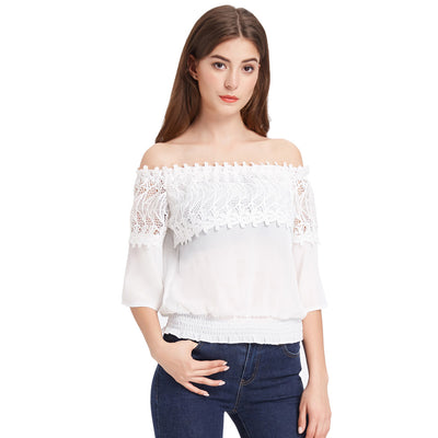 Grace Karin Women's Ivory Chiffon Lace 1/2 Sleeve Off the Shoulder Straight-Neck Loose Fit Patchwork Tops
