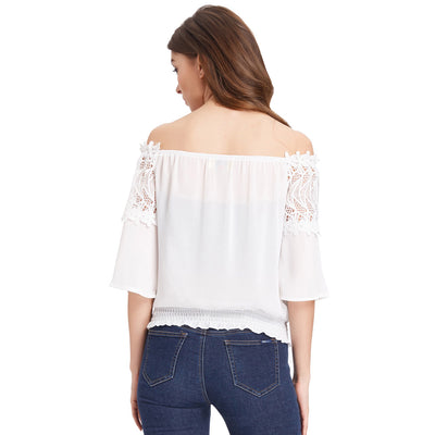 Ivory and Black Chiffon Lace Off the Shoulder Women's Patchwork Tops